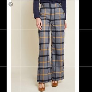 ModCloth | put fab first wide leg plaid pants sz L